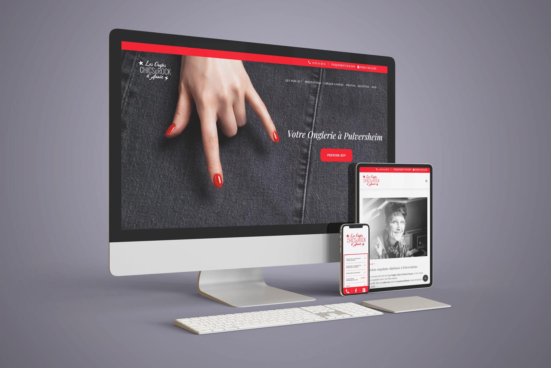 Mockup du nouveau site internet de l'onglerie à Pulversheim
